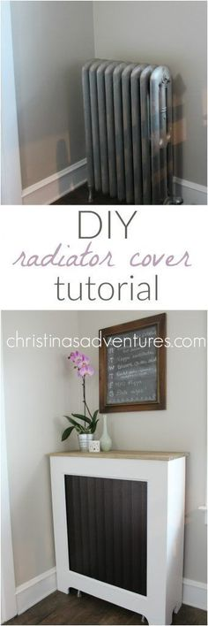 DIY Radiator Cover Tutorial - this is easier than I realized! So great to add extra shelf/counter space to a room.