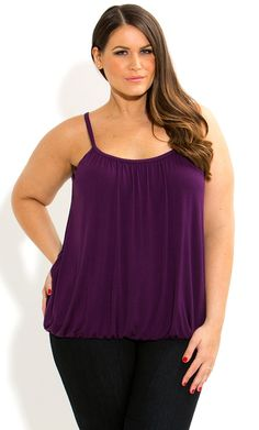 City Chic - COLOURED BUBBLE HEM CAMI - Women's plus size fashion