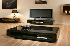 Modern black coffee table sets stunning wooden cocktail table sets in dark finishing with rectangular shape . Tv Stand And Coffee Table Set, Low Coffee Table, Unique Coffee Table, Coffee Table Styling, Decorating Coffee Tables, Coffee Table Design, Modern Black Coffee Table, Black Glass Coffee Table, Black Side Table