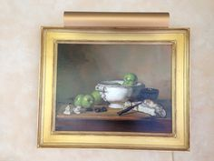 Watercress Springs Estate Sales GREENWICH CT ESTATE SALE - 12 Sidney Lanier Lane - October 28th to 30th - oil-painting-still-life-apples-brie-signed-elizabeth-torak-24-x-18