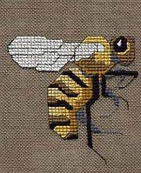 Simply Bee, free cross stitch design to download, uses Kreinik silk and metallic threads.