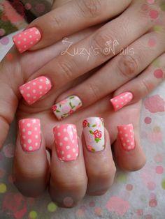 Vintage rose nail art nailed it ✮ nails, nails 2016 и nail a Coral Nail Art, Rose Nail Art, Coral Nails, Flower Nail Art, New Nail Designs, Nail Designs Spring, Acrylic Nail Designs, Great Nails, Cute Nails