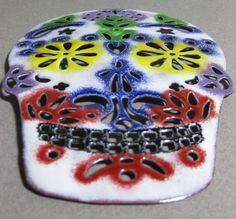 Handmade Enameled Copper Sugar Skull Plate. $80.00, via Etsy.