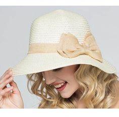 Fashion bow bucket hat for women UV protection straw sun hats summer wear