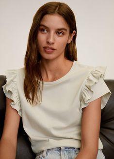 Mode Top, Sleeves Designs For Dresses, Coton Bio, Ruffle Sleeve, Blouse Designs, Ideias Fashion, Kids Fashion, Casual Outfits, Fashion Dresses