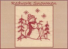 Redwork Snowmen - January - Redwork Hand Embroidery Pattern by Beth Ritter - Instant Digital Download on Etsy, $2.00