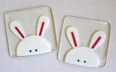 Easter bunny rabbit coaster mat fused glass by NaomisStainedGlass