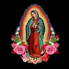 The Our Lady of Guadalupe, Saint Virgin Mary with Roses black or white ladies cap sleeve T-shirt is permanently transferred in vibrant full-color on a super soft Tee shirt . This T-shirt is an ideal gift for women who love the Virgin Mary. Unique image o Blessed Mother Mary, Blessed Virgin Mary, Virgin Mary Art, Virgin Mary Painting, Mary Of Guadalupe, Madonna, Mother Mary Tattoos, Herz Tattoo, Chicano Art