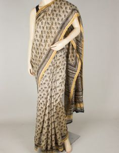 Hand Block Print Chanderi Silk Saree without Blouse-1272