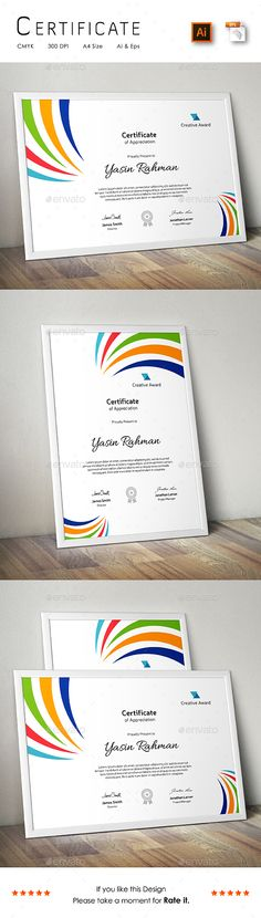 A Great Creative Colourful Certificate Template for Creative Person.Features: Easy to Edit CMYK Color 300 DPI High Resolution Size ( bleed setting) Print Ready Format Free FontsFiles Includes: 2 Ai Stationery Templates, Stationery Design, Print Templates, Design Templates, Certificate Design, Certificate Templates, Print Design, Logo Design, Graphic Design