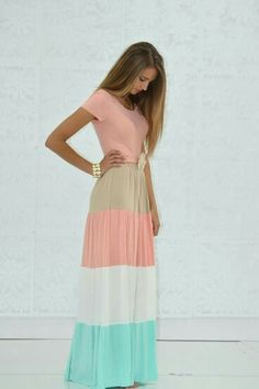 Colourful blocking maxi dress
