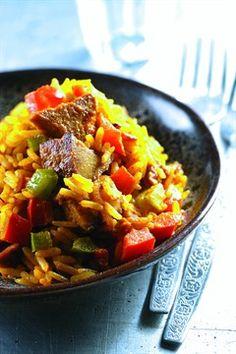 Riz parfumé au porc et aux poivrons - Larousse Cuisine.
