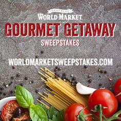 World Market's Gourmet Getaway Sweepstakes. Enter for a chance to win a 7-DAY CULINARY TRIP FOR 2 TO ITALY. Sweepstakes ends 10/02/15. WWW.WORLDMARKETSWEEPS.COM