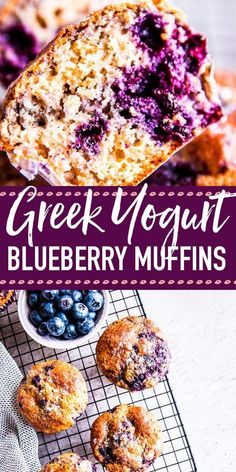 Greek Yogurt Blueberry Muffins are an easy and healthier way to have breakfast! Quick to mix up and super freezer-friendly, this is a back to school treat you don't want to miss. Made with healthy ingredients like whole wheat flour and Greek yogurt. Blueberry Yogurt Muffins, Greek Yogurt Muffins, Greek Yogurt Recipes, Blueberry Recipes, Greek Yogurt Cupcakes, Whole Wheat Blueberry Muffins, Blueberry Bread, Brunch Recipes, Gourmet Recipes