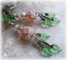 CASCADING ROSES Lampwork Earrings by ChaeyAhne by EnchantedQuills