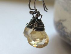 Citrine & Sterling Silver Wrapped Dangle by Novapsis on Etsy
