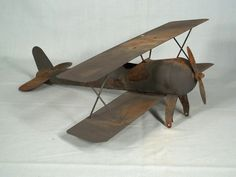 Antique 1920's Hand Made Tin Biplane Weathervane