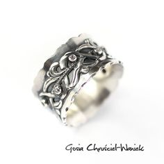 Srebrny pierścionek z cyrkoniami Biżuteria Pierścionki Gosia Chruściel-Waniek