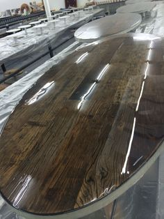 Work in progress for great design office in Switzerland. 6 work office tabletops moulded with liquid gloss