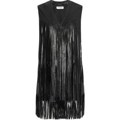 Saint Laurent Fringed leather vest (€2.970) ❤ liked on Polyvore featuring outerwear, vests, black, leather vest, leather waistcoat, genuine leather vest, vest waistcoat and yves saint laurent