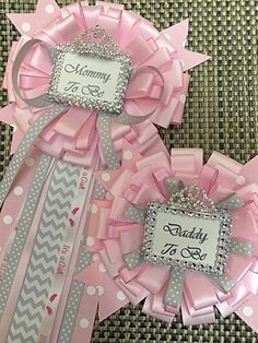 Set of 2 Pink and grey pins-Little princess baby shower mommy to be pin - little princess corsage- pink and grey baby shower-mommy to be pin