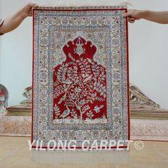Yilong 2'x3' Antique oriental carpet handmade exquisite Persian silk rug (1163)