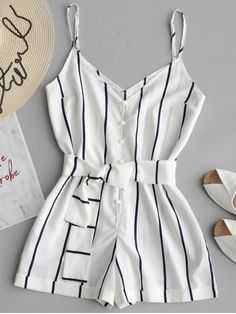 Striped Belted Cami Romper A site with wide selection of trendy fashion style women's clothing, especially swimwear in all kinds which costs at an affordable price. Teen Fashion Outfits, Trendy Fashion, Girl Fashion, Girl Outfits, Fashion Trends, Cute Casual Outfits, Cute Summer Outfits, Teenager Outfits, Mode Style