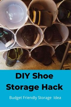 Next time you're at the Dollar Store, buy 9 cheap trash cans and copy this clever storage idea! - This is so clever! #diyhomedecor  home decor | diy storage | shoe storage | diy | siy storage | dollar store #storage |#Organization #budget #frugal