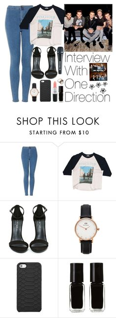 """""""Interview With One Direction"""" by zarryalmighty ❤ liked on Polyvore featuring Topshop, Floyd, Shoe Cult, Daniel Wellington, GiGi New York, The New Black, Vintage Collection, Sennheiser, women's clothing and women"""