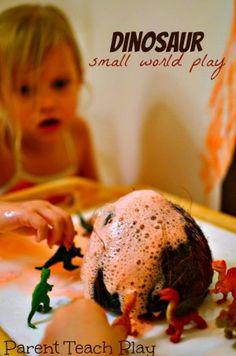 Coconut volcano and dinosaurs - fine motor development  - small world play