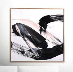 Grote abstracte afdrukbare kunst zwart en roze penseel