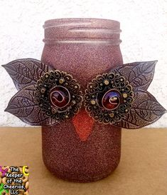 Owl Mason Jar Craft - Fall Mason Jar Craft ideas - Glam Owl Mason Jar