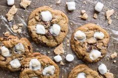 Smores Cookies  I had a singleunopened sleeve of graham crackers several assorted packages of chocolate and half a bag of somewhat stale mini marshmallows all unearthed from the pantry on a rainylate-summer/early-fall afternoon.  Whats a gal to do but make chocolate and marshmallow Smores Cookies?  http://ift.tt/2x4sMHF