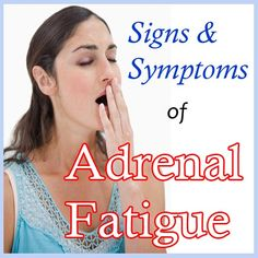 There are many chronic fatigue syndrome symptoms, which vary depending on levels of stress, how often you exercise, and how well you eat. Because of this, it can be difficult to diagnose chronic fatigue syndrome. The syndrome shares m Adrenal Fatigue Symptoms, Chronic Fatigue Syndrome Diet, Adrenal Glands, Chronic Tiredness, Adrenal Stress, Chronic Fatigue Treatment, Adrenal Health, Thyroid Disease, Addison's Disease