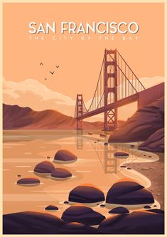California travel posters: san francisco by george townley. Pinturas Art Deco, Poster On, Poster Prints, Room Posters, California Travel, Vintage California, Vintage Hawaii, Vintage Travel Posters, Vintage Ski
