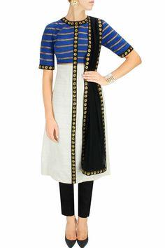 Ivory, blue and black sequins and gota embroidered kurta set by Priyal Prakash. Shop now at www.perniaspopups... #mostwanted #designer #fashion #couture #shopnow #perniaspopupshop #happyshopping