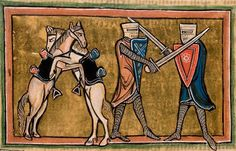 Two knights fighting on foot with swords, while their horses are fighting each other on hind legs. Folio 42v: The Rochester Bestiary c.1230, copy from c.1230AD, Southeastern Endland. Manuscript Royal 12 F XIII