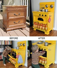 : A Display Shelf Erica at Spoonful of Imagination found this old dresser in the junk tossed away by her neighbor's and after giving it a pretty makeover she turned the dresser into a display shelf. A Play Kitchen Cyrille at Bubblestitch Quilts upcycled a Projects For Kids, Diy For Kids, Diy Projects, Diy Gifts For 3 Year Old Boy, Old Dressers, Small Dresser, Diy Play Kitchen, Play Kitchens, Kid Kitchen