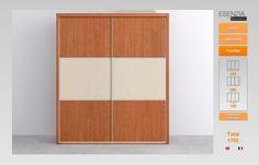 Ya tenemos el armario de 2 puertas correderas terminado que lo hemos combinado en color base cerezo con las puertas paneladas con el centro en color textil