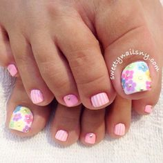 Pretty spring pedi by @sweetynails_ny   Enter or vote in the Hard Candy Spring Nail Art Contest!