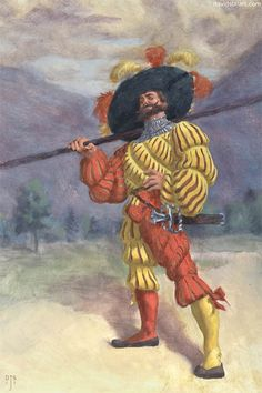 Landsknecht by davidstill on DeviantArt Italian Renaissance, Renaissance Art, Military Art, Military History, Early Modern Period, Holy Roman Empire, Landsknecht, Historical Images, Modern Warfare