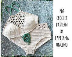 PDF-file for Crochet PATTERN, Coralia Crochet Crop Top and Hipster Bottom, Sizes XS-L, Bikini Top, Bikini,