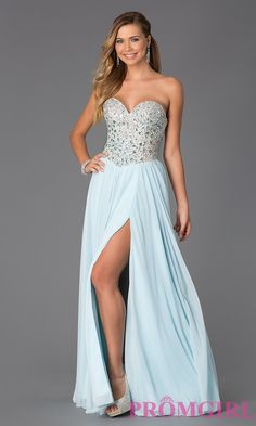 Image of Long Beaded Strapless Sweetheart Dress Style: TI-GL-DL106 Front Image