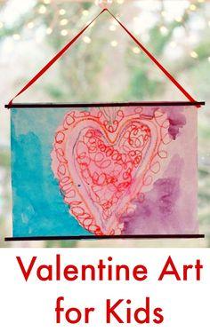 Crayon Melt Valentines Day Art for Kids