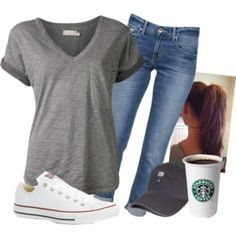 The busy life on polyvore: grey tee, skinnies, converse, and cap. Simple yet classic.