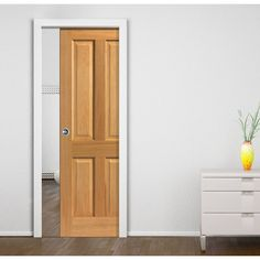 Single Pocket Simply Oak Sherwood 4 Panel sliding door system in three size widths. #oakdoor #pocketpanelleddoor #pocketdoor