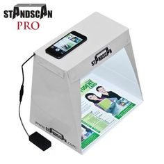 StandScan PRO - Smartphone Accessory, Portable, Affordable, Light-weight Scanning Box for your smartphone with inbuilt LED lighting to photo-scan professional quality Documents, Pictures and 3D objects. StandScan http://www.amazon.com/dp/B0096SXDVU/ref=cm_sw_r_pi_dp_0gM.tb0PXR2B5