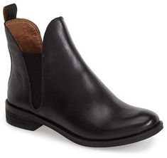 $138, Black Leather Chelsea Boots: Lucky Brand Nocturno Chelsea Boot. Sold by Nordstrom. Click for more info: https://lookastic.com/women/shop_items/311780/redirect