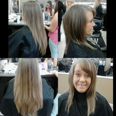 Before and after; Layered cut with bangs.
