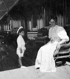 Empress Alexandra Romanov and Tsarevich Alexei Romanov, heir to the throne.